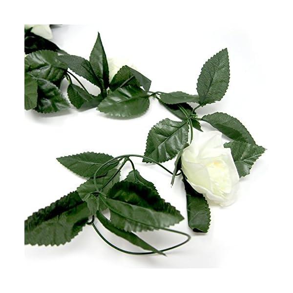 Homeford-Artificial-Rose-Silk-Flower-Vine-Garland-Ivory-78-Inch