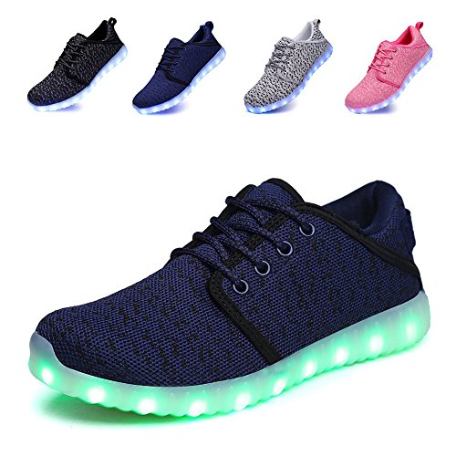 Qiucdzi Kids Light up Shoes 7 Colors USB Charging Flashing Sneakers for Boys and Girls LED Shoes (3(US) Little Kid - 34(EU/FR), Blue)
