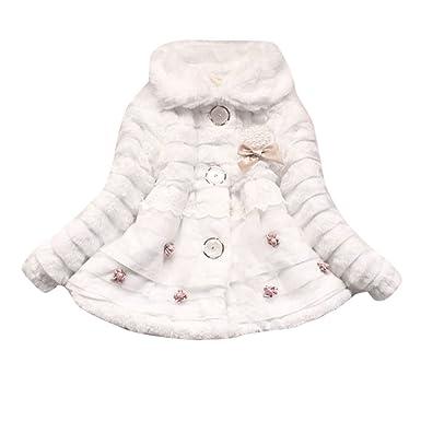 Xmiral Abrigo para Niñas con Perlas Flores Decorativos Chaqueta Grueso de Invierno Cuello Solapa Traje de