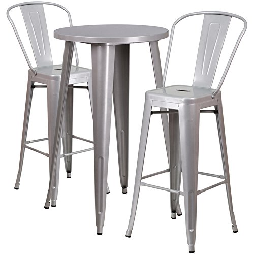 Flash Furniture 24'' Round Silver Metal Indoor-Outdoor Bar Table Set with 2 Cafe Stools (Set Furniture Indoor Bar)