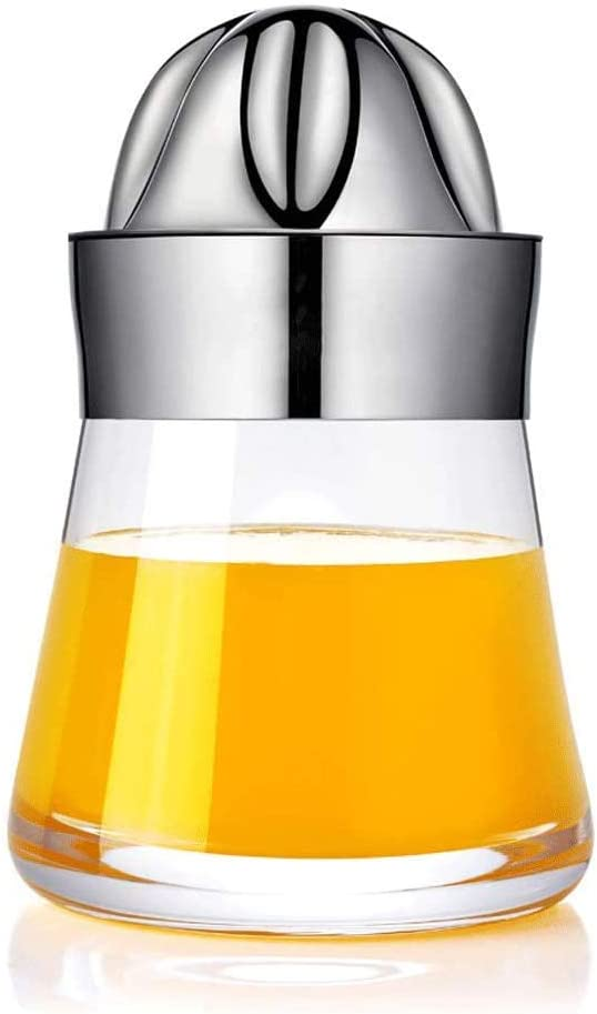 HnF Citrus Juicer, Reusable 304 Stainless Steel Manual Juicer, with 6 Leaves and Large Capacity Container, Non-Slip and Easy to Clean, Suitable for Kitchen, Restaurant 700 ML