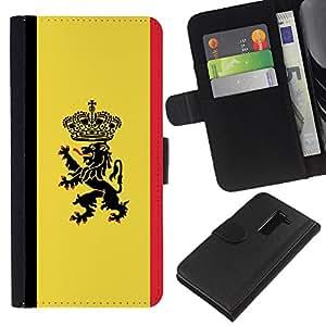 KLONGSHOP // Tirón de la caja Cartera de cuero con ranuras para tarjetas - Cresta de la bandera MAJESTIC - LG G2 D800 //