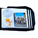 DVD CD Storage Case with Extra Wide Title Cover Pages for Blu Ray Movie Music Audio Media Disk (Portable Carrying Binder Holder Wallet Album Home Organizer)- Blue, 128 disk units, 64 cover pockets