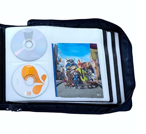 DVD CD Storage Case with Extra Wide Title Cover Pages for Blu Ray Movie Music Audio Media Disk (Portable Carrying Binder Holder Wallet Album Home Organizer)- Blue, 192 Disk Units, 96 Booklet Pockets (Cd Carrying Cases)