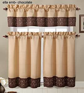 brown and gold embroidered kitchen window curtain set 2 tier panel curtain 1. Black Bedroom Furniture Sets. Home Design Ideas