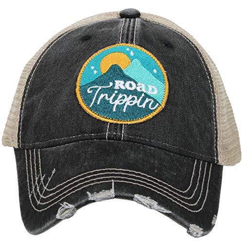- Katydid Womens Road Trippin' Circle Patch Trucker Hat, Black