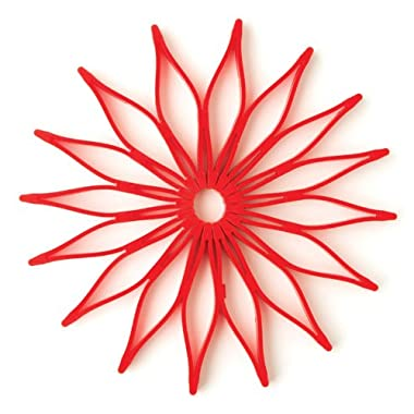 Spice Ratchet 16813 Blossom Multi-Use Silicone Trivet, Red