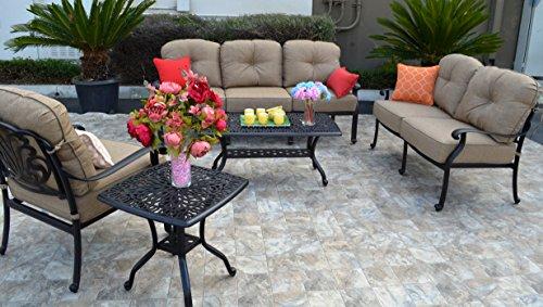 (Elizabeth Cast Aluminum Powder Coated 5-piece Seating Set with Sunbrella Cushions - Antique Bronze)