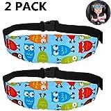 PUBAMALL Soporte del cuello de la cabeza del asiento de seguridad para bebés, posicionador del sueño del asiento de seguridad para niños (2 paquetes Azul)