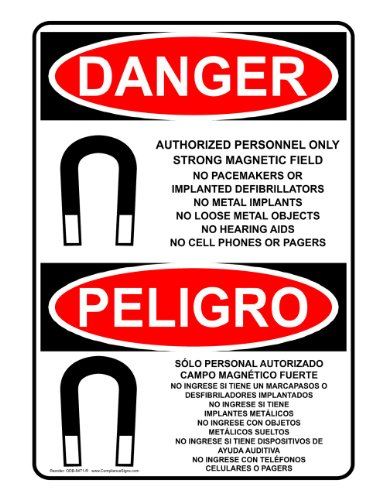 ComplianceSigns Vinyl OSHA DANGER Label, 10 x 7 in. with MRI / X-Ray / Microwave Info in English + Spanish, White