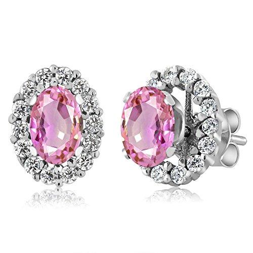 Earrings Pink Oval Sapphire (Gem Stone King 1.46 Ct Oval Pink Sapphire 925 Sterling Silver Stud Earrings with Jackets)