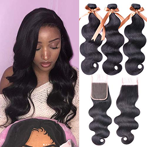 "Allrun Hair 7A Brazilian Body Wave 3 Bundles with Free Part Lace Closure 100% Unprocessed Human Hair Weave Extensions Bundles with 4×4 Closures (16 18 20+16"" Closure) from ALLRUN"