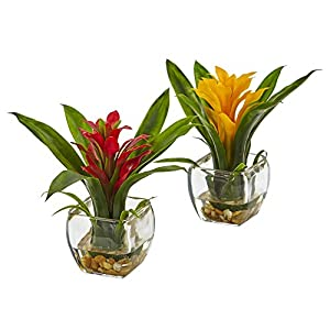 Nearly Natural 6898-S2 Bromeliad Pair with Glass Vase Arrangement (Set of 2) 12