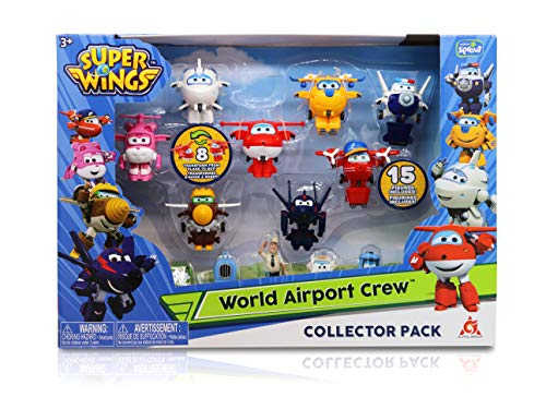 Super Wings - Season 2 - Transform-a-Bots World Airport Crew Collector Pack w/ 15 Toy Figures | 2