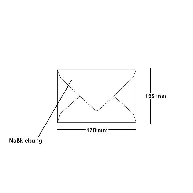 Kuvert ohne Fenster Bl/ütenwei/ß Umschl/äge mit Nassklebung ARTOZ 25x Briefumschl/äge gerippt Spitze Verschlusslasche DIN B6 178 x 125 mm