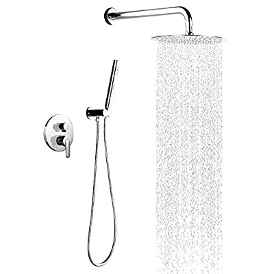 STARBATH Shower Systems with 12 Inch Rain Shower Head and Hand Shower, Modern Round Rain Mixer Shower Set Wall Mounted, Chrome
