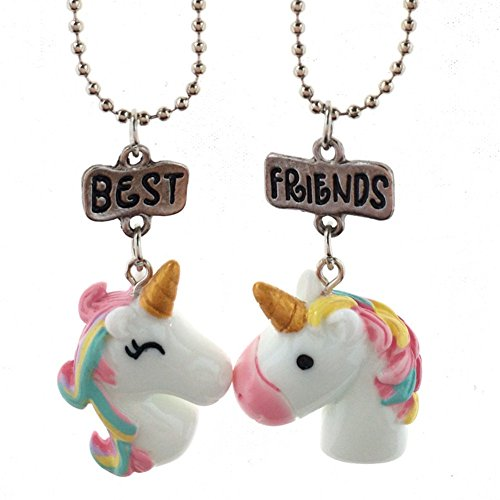 Fsmiling Best Friends BFF Unicorn Pendant Friendship Party Necklace Set for 2 Kid Girls