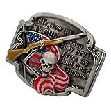 Buckle Rage Adult Mens Gun Rights Phrase Shotgun Skeleton Flag Belt Buckle Red