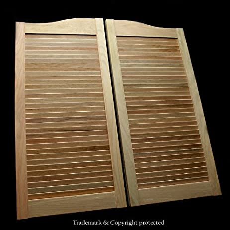 Oak Louvered Commercial Grade Cafe Doors Prefit for 36u0026quot; Finished Opening (24 28 & Oak Louvered Commercial Grade Cafe Doors Prefit for 36