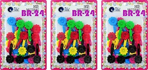 Tara Girls Self Hinge Plastic Bow Hair Barrettes Selection Pack Of 3 (BR24)