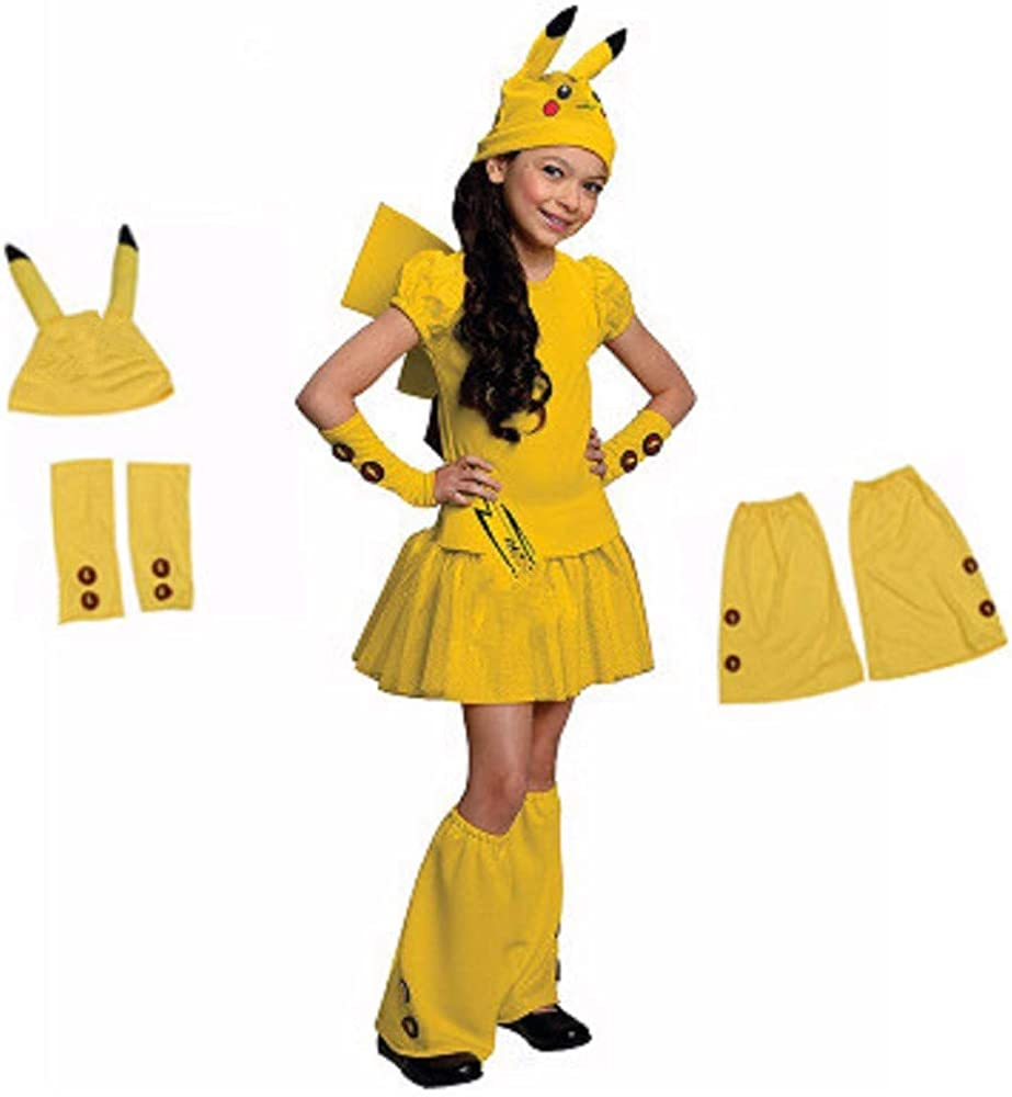 Cute Pikachu Skirt Costume for Childrens Cosplay Performance 4 Piece Set