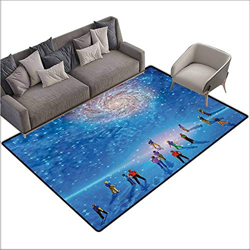 (Floor Bath Rug Constellation People Gather to See Mysterious Galactic Cosmic Phenomena Sci-Fi Like Scene Suitable for Outdoor and Indoor use W67 xL102 Multicolor)