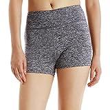 KVAVKVO Women Workout Fitness Running Shorts Leggings with Hidden Pockets (Large, greyheather)