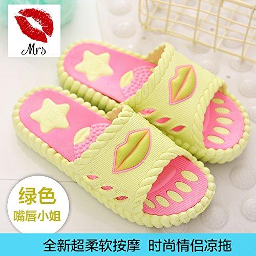 coppie estate casa slip in da soggiorno fankou bagno anti freddo maschio scarpe a Pantofole pantofole indoor eleganti di spiaggia verde 37 bagno le qwvfa5