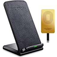 QI Fast Wireless Charger - Leather Cordless CellPhone Rapid Charger,Portable QI Charging Stand...