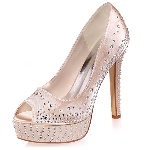 Donna Peep Heel da Plateau Toe Sposa Lady Toe Champagne 11cm Elobaby Satin 35 Strass 42 Kitten Taglia Scarpe Yfqdwd