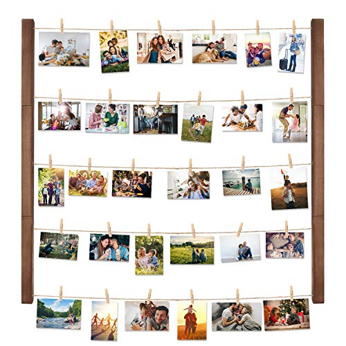 Halcent Wall Picture Photo Frame Collage for Picture Display, Wood Decor Wall Photo Display Frame with 30 Clips Multi Rustic Picture Frame 26 x 29 Inch (Clips Photo Display)