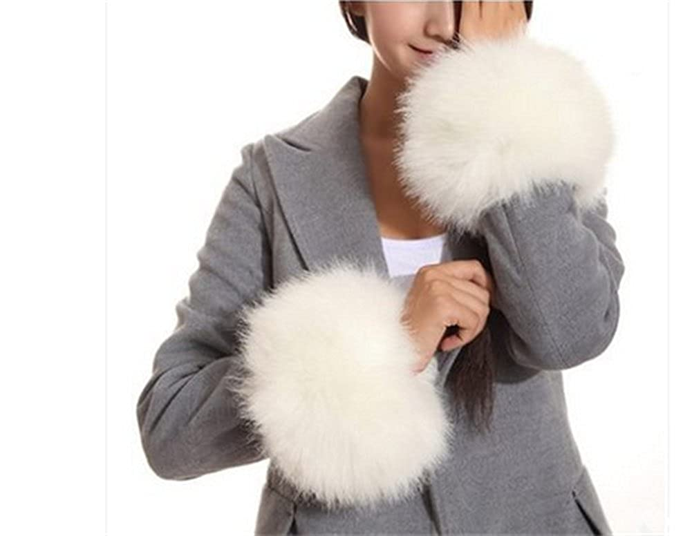 Faux Rabbit Fur Wrist Band Warm Winter Arm Warmer Soft Wrist Warmer Cuffs Beige