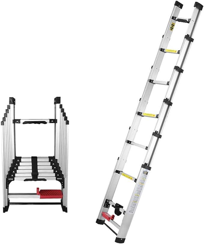 DZWSD Interruptor de pie Escalera telescópica de Aluminio, Espesa Escalera Recta - para Uso doméstico Diario o de Emergencia para Uso Industrial de 150 kg / 330 LB Capacidad máxima: Amazon.es: Hogar