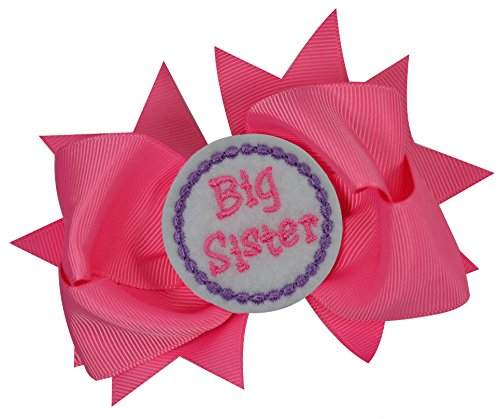 Girls Sister Hair Bow with Embroidered Felt Appliqué 4.5 Inch Grosgrain (Big Sister)