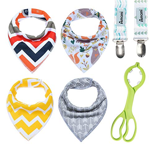 Baby Burp Cloths - Qkit Baby Drooling Bibs Teething Saliva Towel - Come with 1 Feeding Bottle Holder and 2 Pacifier Clips from Qkit