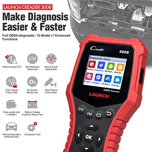 LAUNCH Creader 3008 2018 OBD2 Scanner Engine Scan Tool Automotive Diagnostic Tool with Battery Test and Print Function, Support O2 Sensor/Evap System Test/Check Engine Light/Graph Data Stream by LAUNCH (Image #2)