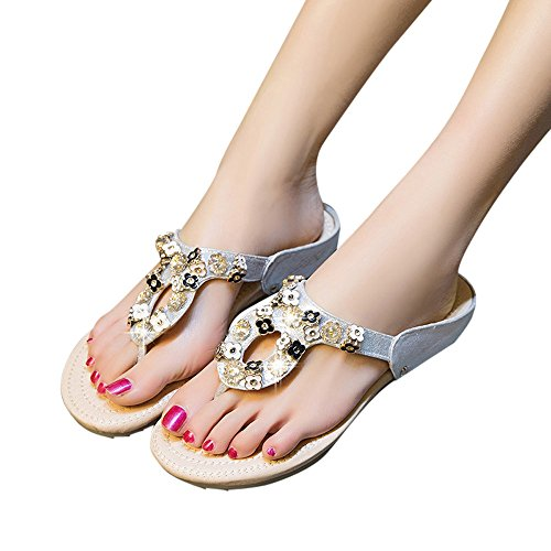MILIMIEYIK Slip-On Sandals Stuffed, Jeweled Rhinestone T-Strap Buckled Flat Sandal for Women Sandalses (Assorted Colors) Silver