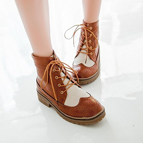 Latasa Womens Fashion Lace-up Chunky Low-heel Platform Ankle-high Paddock Boots yellowish brown Fon6J0Mox