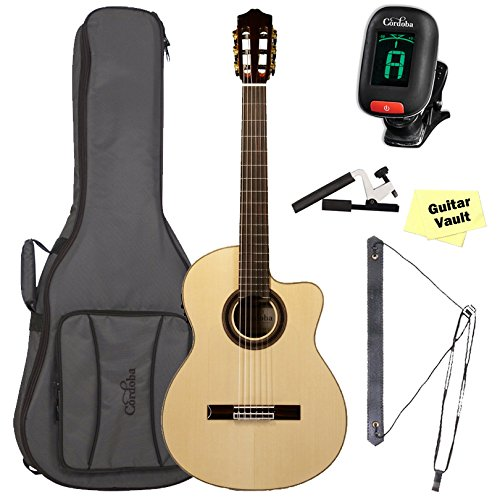 Cordoba GK Studio [Gipsy Kings Signature Model] Acoustic-Electric Nylon String Flamenco Guitar with Deluxe Gig Bag and Accessory Kit (Electric Acoustic Guitar Signature Model)