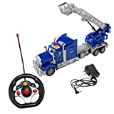 SumacLife Full Function Remote Controlled Blue Bucket Lift Rescue Truck RC Toy
