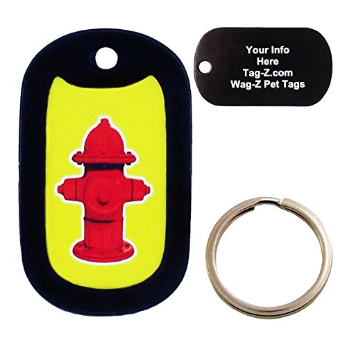 Custom Engraved Pet Tag - Fire Hydrant on Yellow Background - Dog Tag - Tag-Z Wag-Z ()