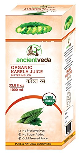 Karela Juice / Bitter Gourd 1000 ml - USDA Certified Organic - Ancient Veda