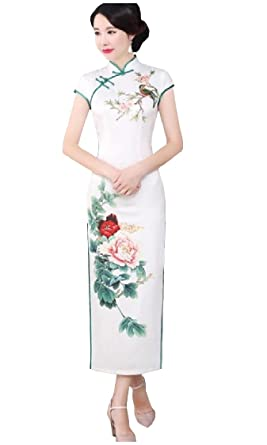 ca6419f19e70e Freely Womens Plus Size Chinese Style Party Vintage Chi-pao Silk Printing  Dresses AS1 Small