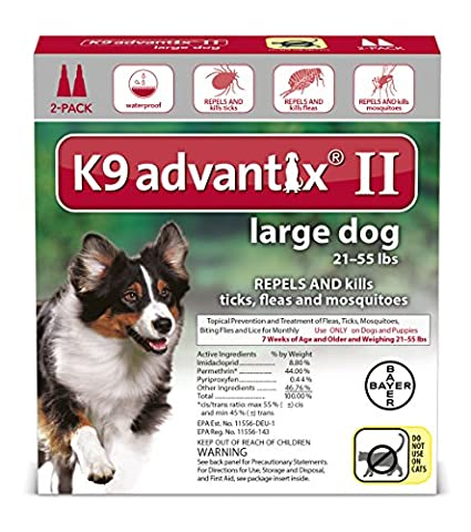 K9 Advantix II Flea, Tick and Mosquito prevention for Large Dogs 21 - 55 lbs, 2 doses (Dog Flea Heartworm)
