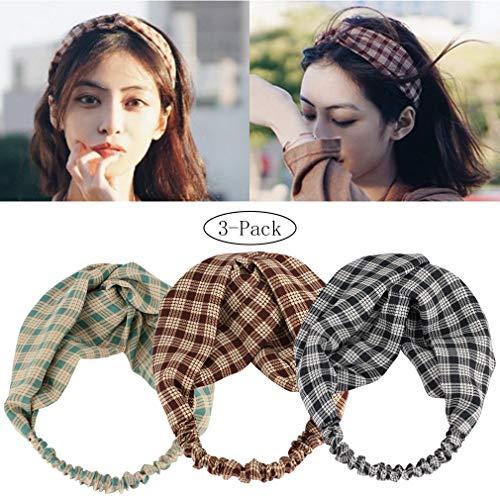 Women's Plaid Print Headband Twist Stretchy Hair Band Wide Head Wrap Pack of 2