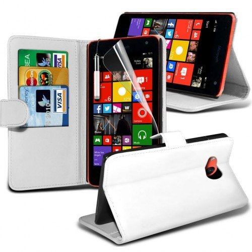 Microsoft Lumia 535 Cubierta del caso con cuero (Blanco) Plus de regalo libre, Protector de pantalla y un lápiz óptico, Solicitar ahora mejor caja del teléfono Valorado en Amazon! By FinestPhoneCases