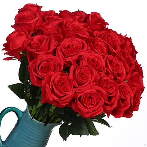 Artificial Flowers Silk Roses Real Touch Bridal Wedding Bouquet for Home Garden Party Floral Decor 10 Pcs (Red curved stem) (Table Artificial Arrangements)