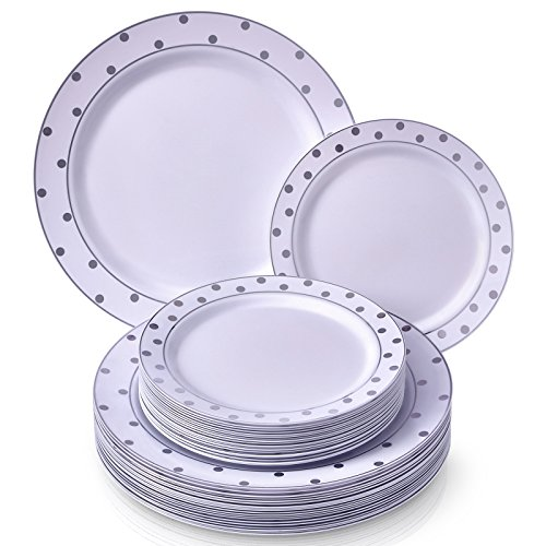 PARTY DISPOSABLE 40 PC DINNERWARE SET | 20 Dinner Plates and 20 Salad or Dessert Plates | Heavyweight Plastic Dishes | Elegant Fine China Look | for Upscale Wedding and Dining (Dots- White/Silver) -