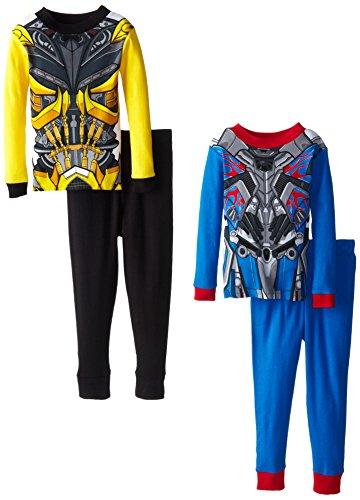 Transformers Big Boys' Optimus and Bumblebee 4-Piece Costume Pajama Set, Multi, (Transformer Toddler Costumes)