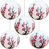 "Smeiker Chinese Japanese Red Cherry Flowers (5 Pack 12"" Diameter) Paper Lantern White Round Chinese Japanese Paper Lamp for Shade Chinese Oriental Style Light Restaurant Wedding Party Home Decor Gifts"